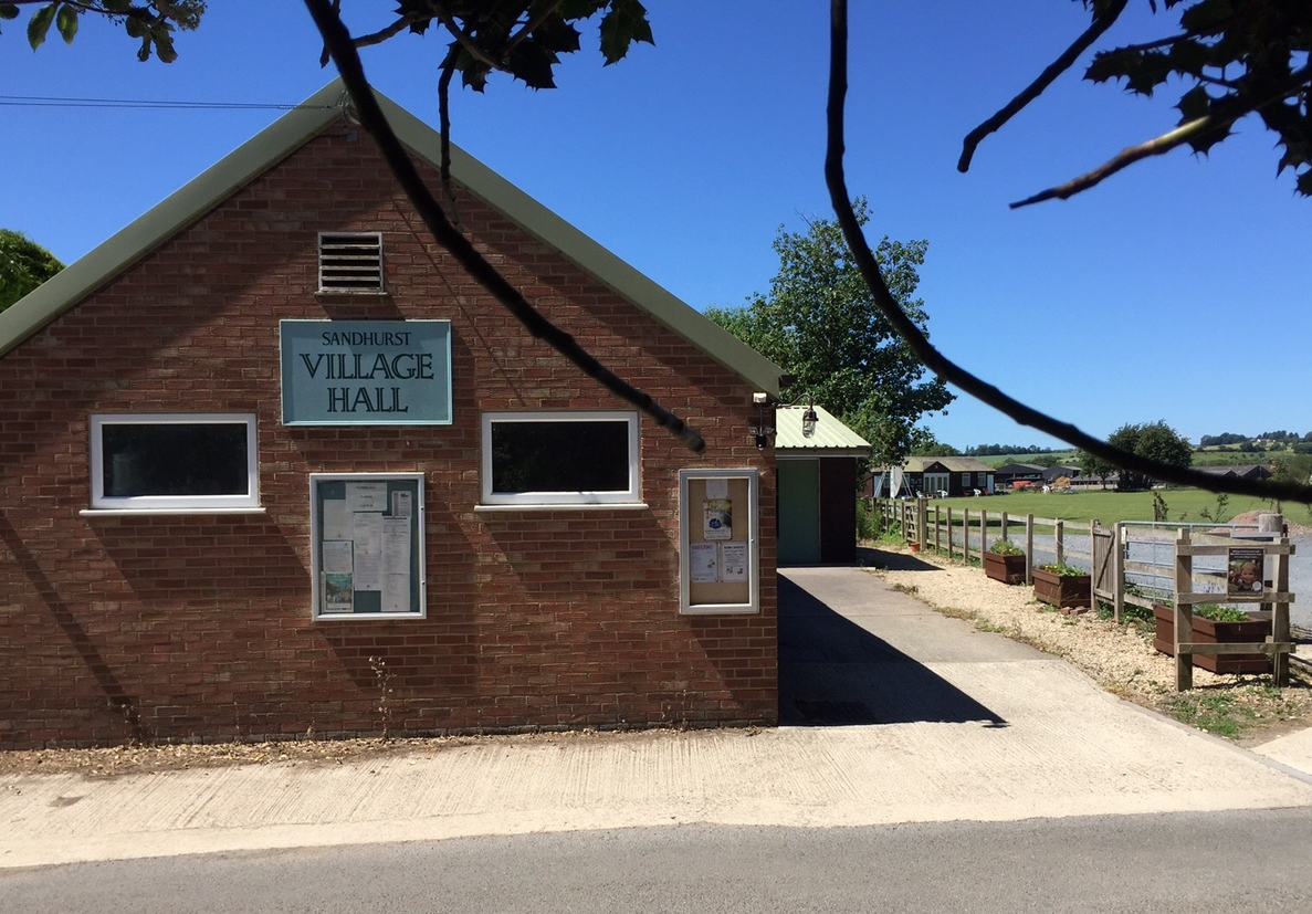 Village Hall in the sun with planters June 2015